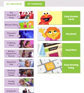 Screenshot of Sesame Street autism content