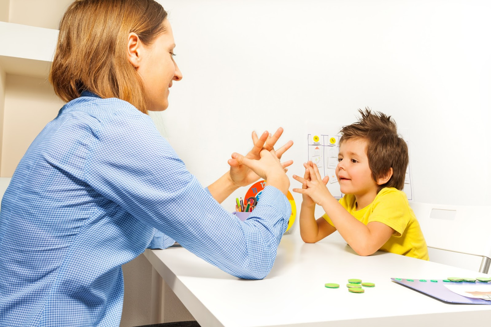 Image of therapist and child