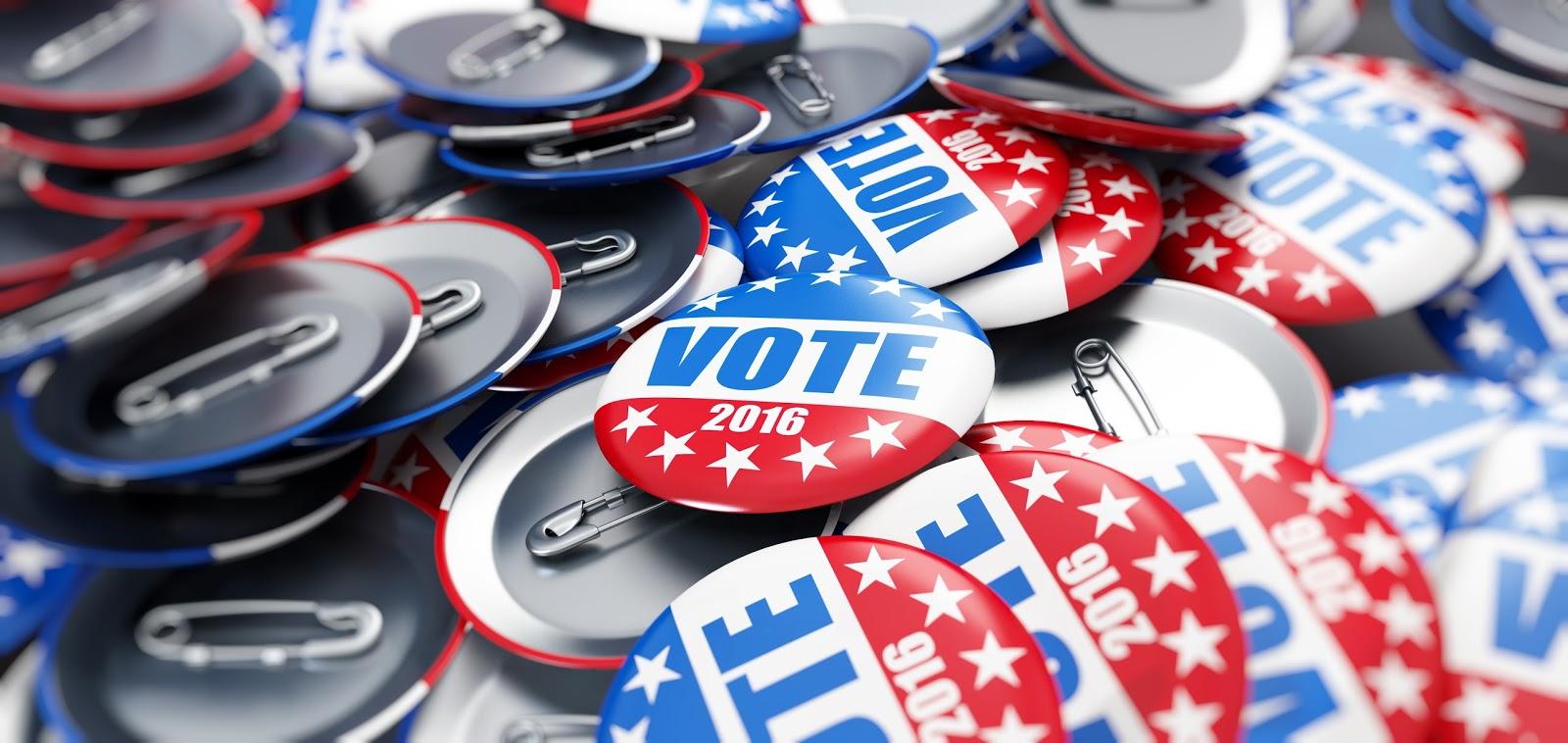 "Image of ""VOTE"" pins"
