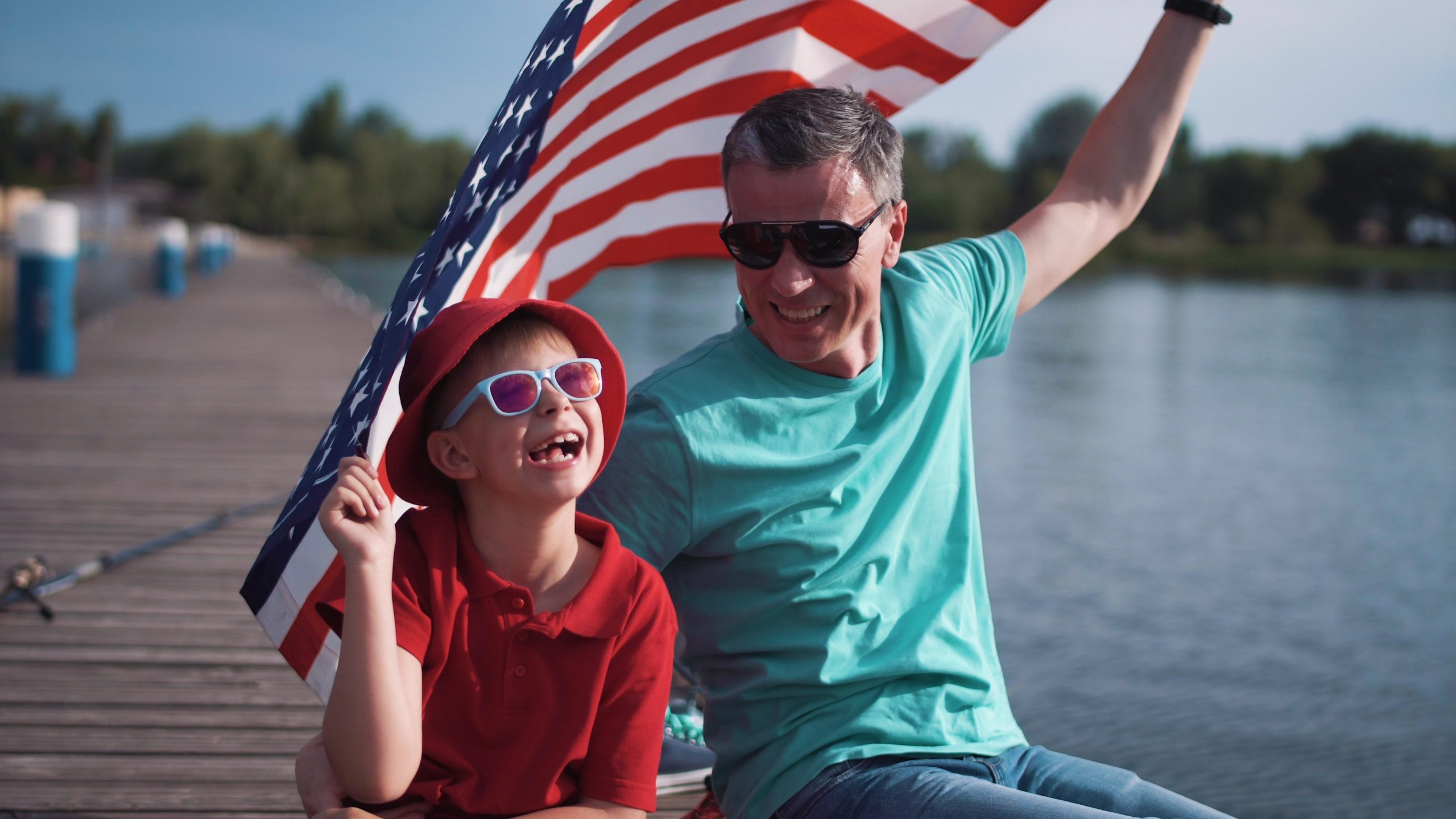 Father & Son Enjoying the Fourth of July