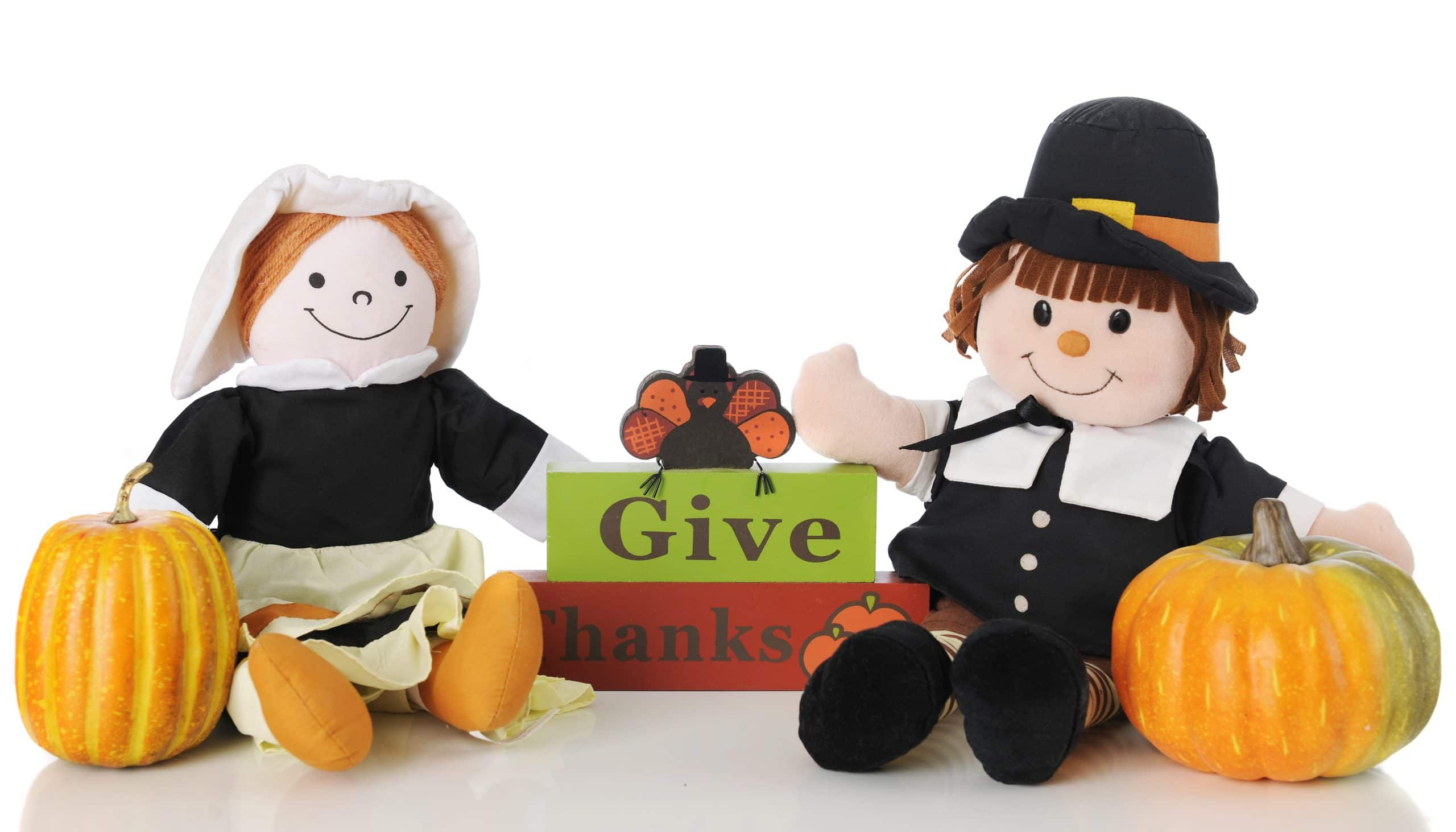 Two Thanksgiving Toy Pilgrims
