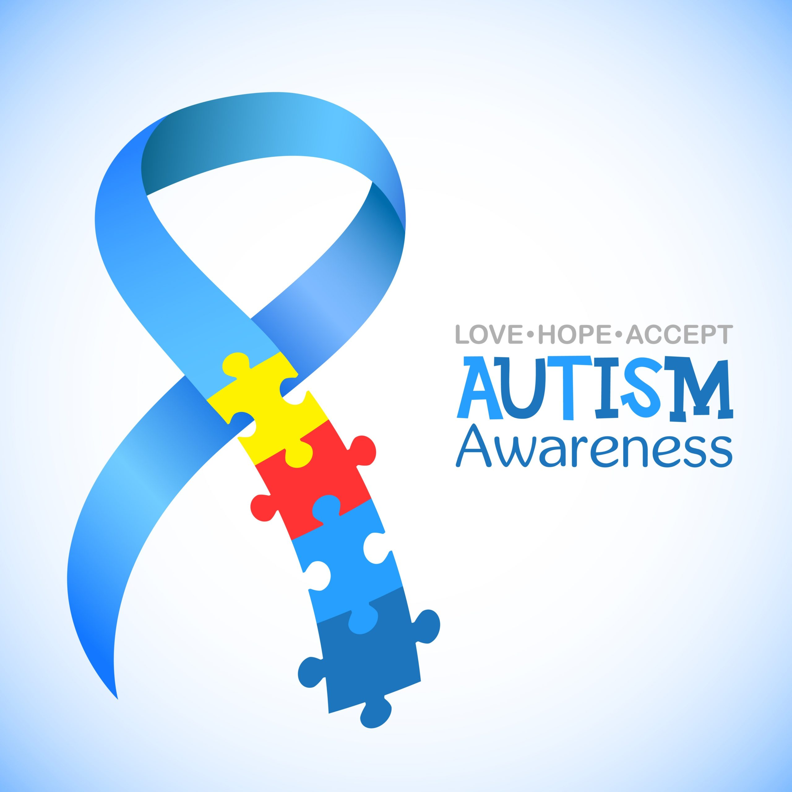 Autism Awareness Month Notice with Puzzle Symbol