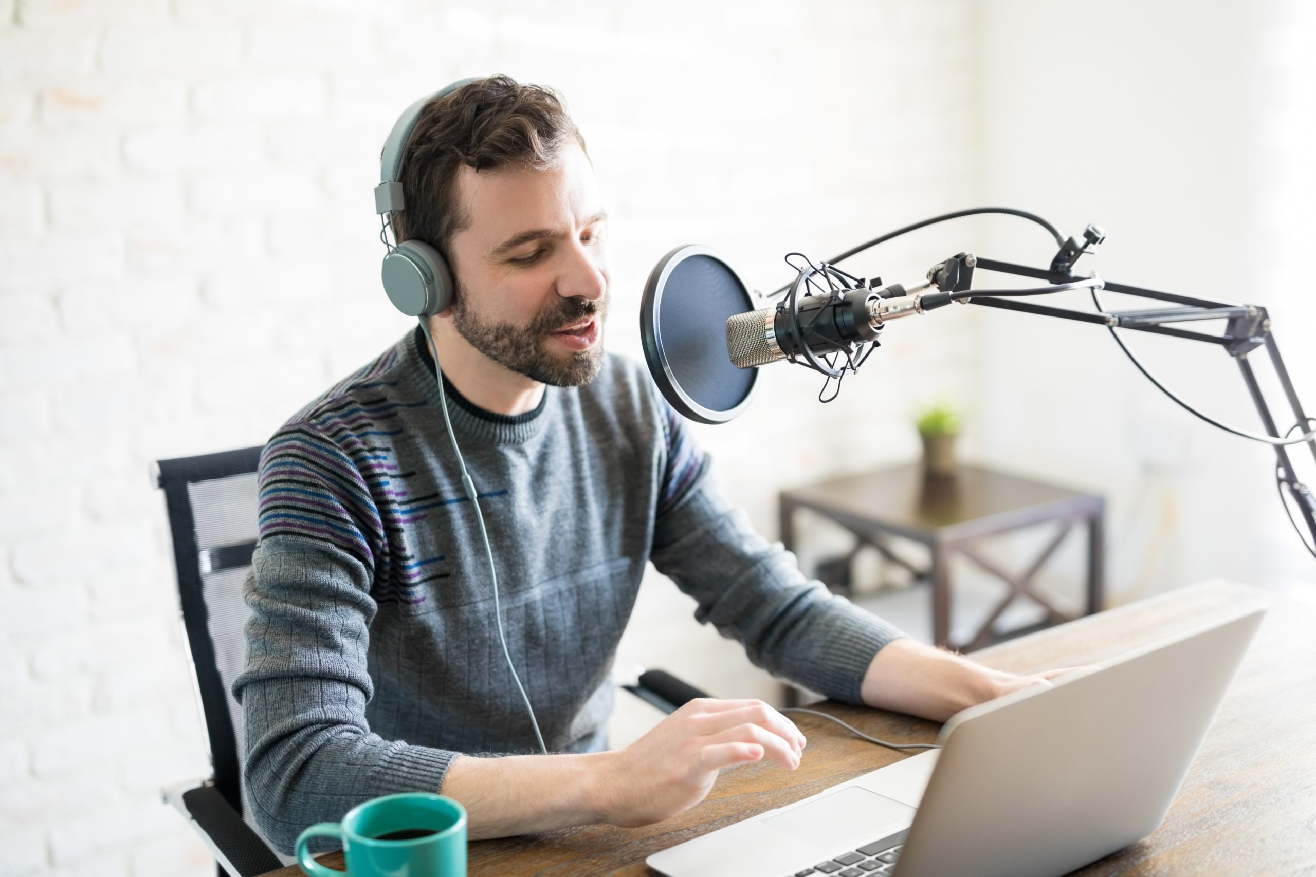 Man Broadcasting a Podcast