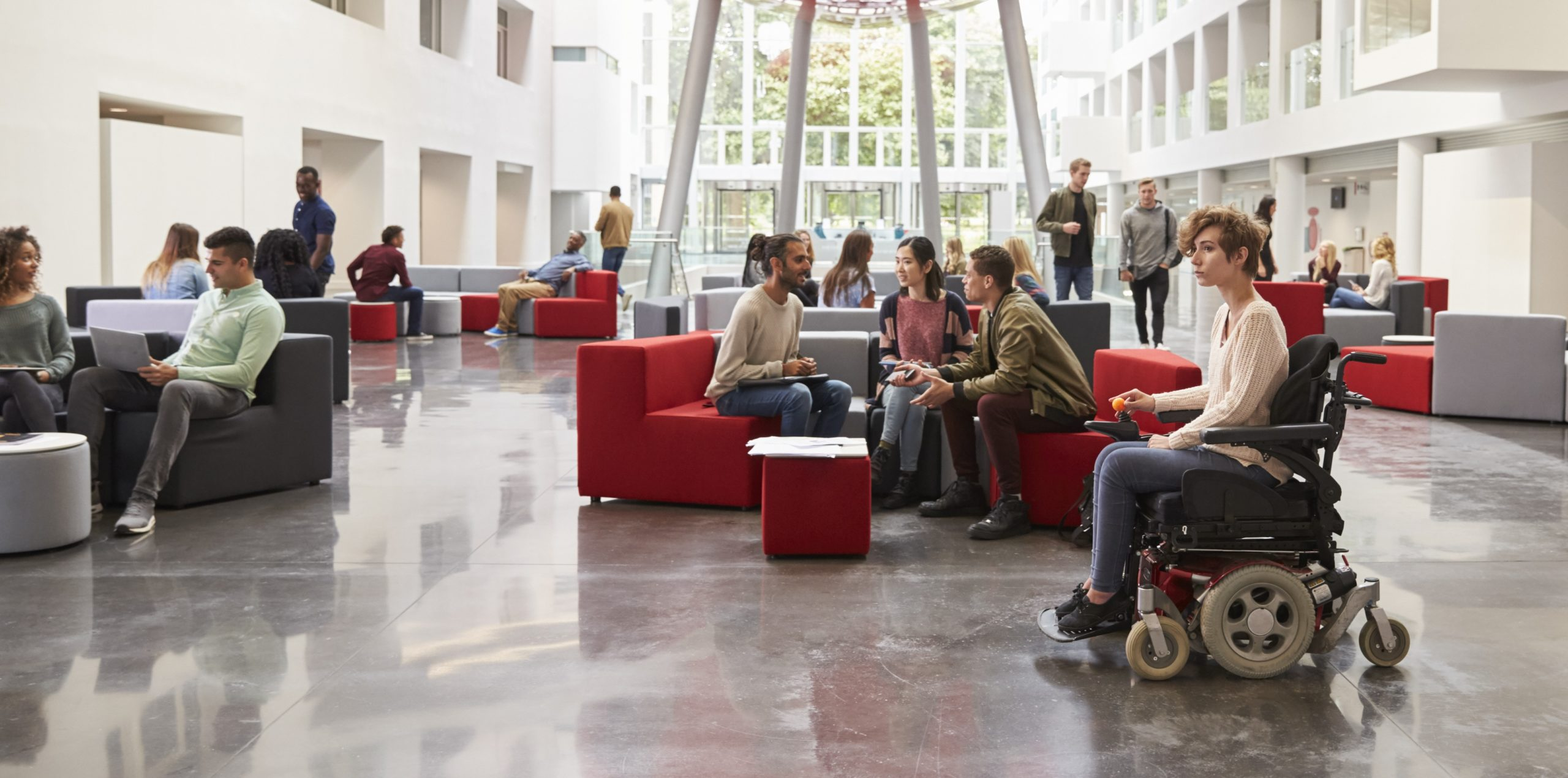 College Student in Wheelchair in Campus Center