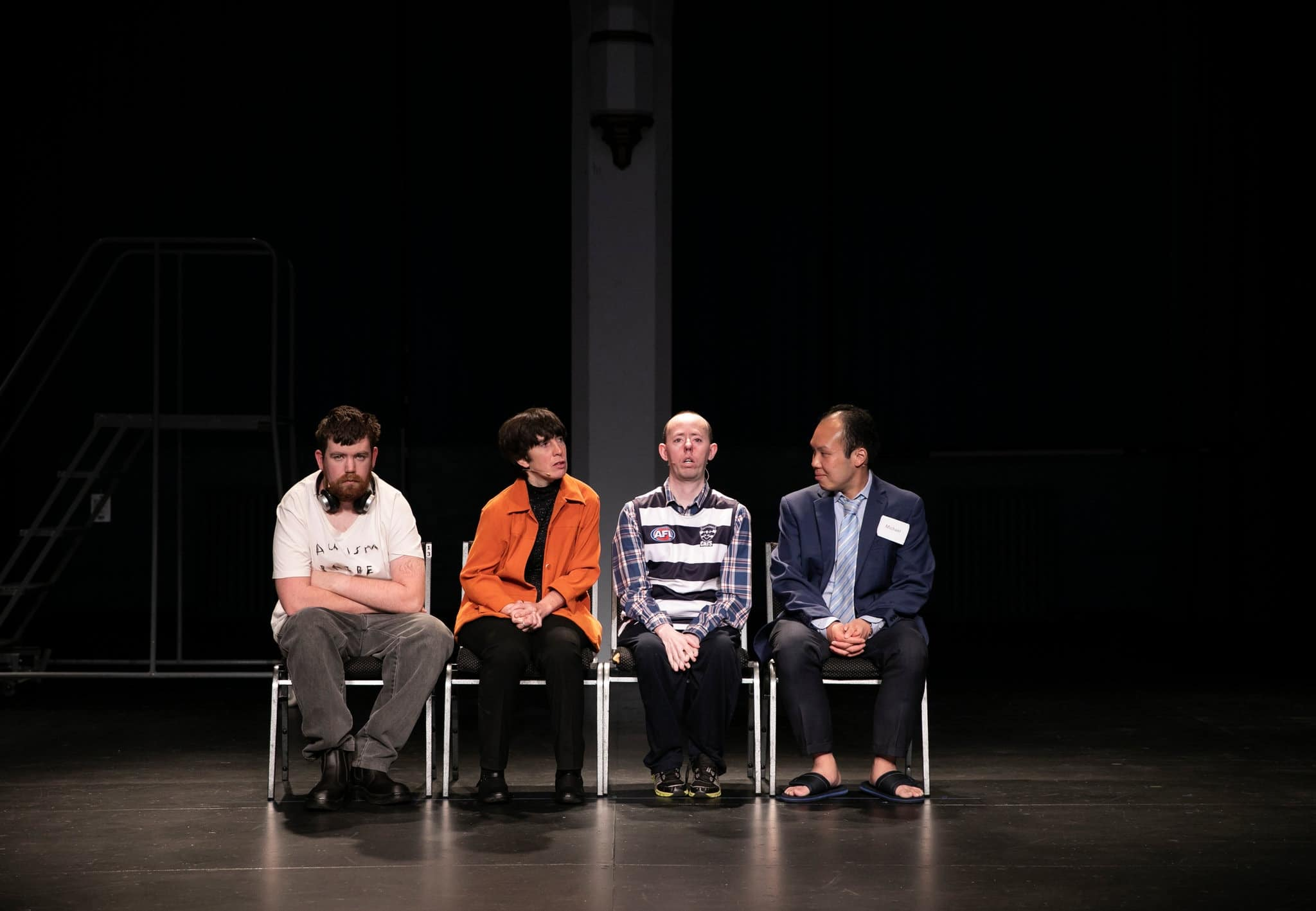Four actors with disabilities on stage